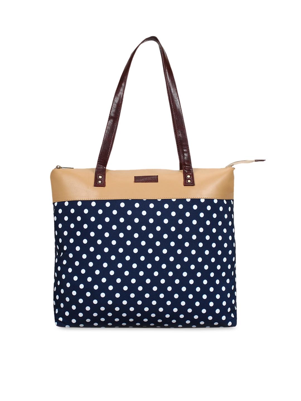 Lychee bags Women Navy Blue   White Printed Shoulder Bag
