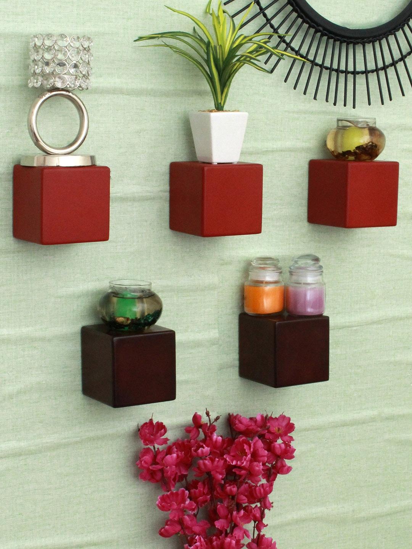 Home Sparkle Set of 5 MDF Basic Wall Cube Shelves