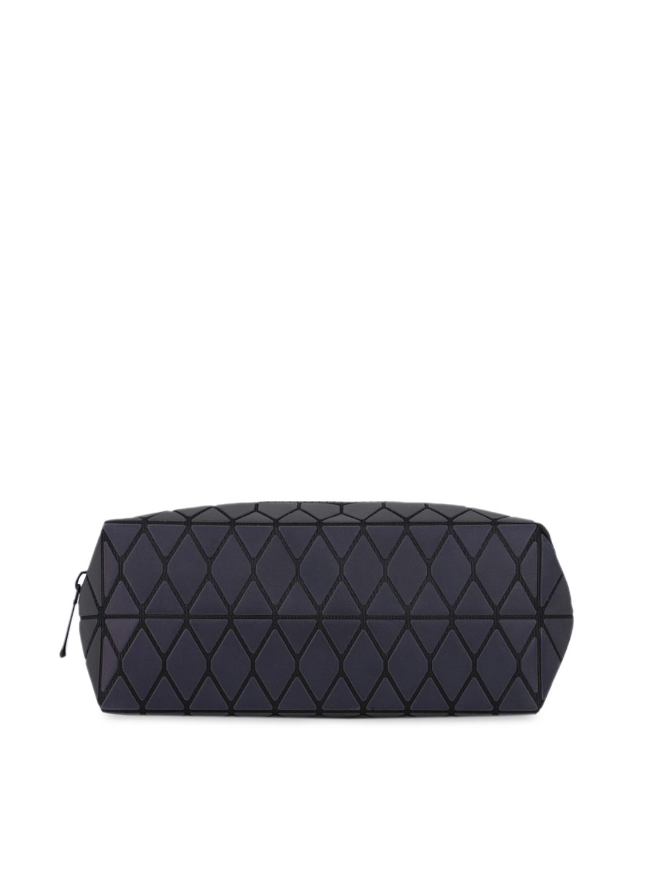 Baomi Grey Geometric Printed Reflective Cosmetic Pouch