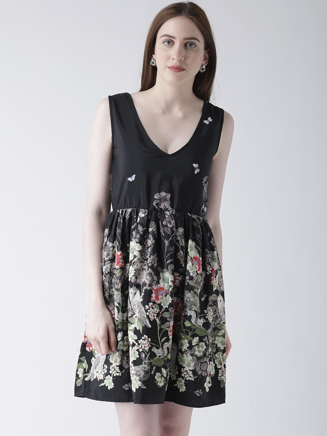 The Vanca Women Black Printed Fit and Flare Dress
