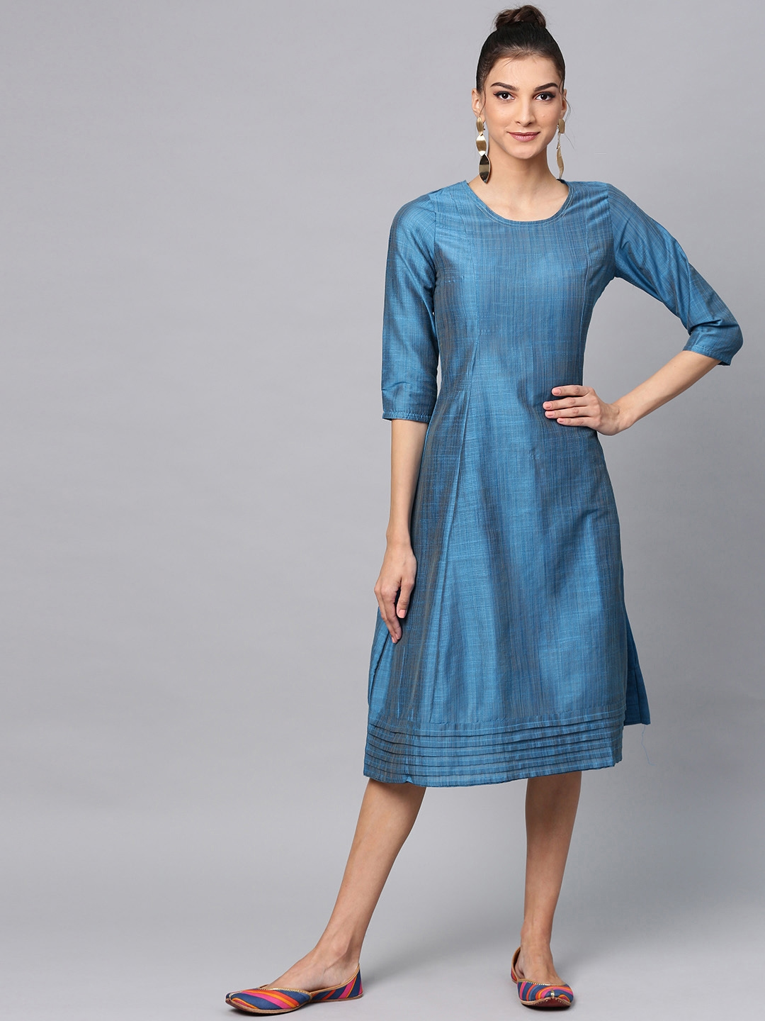 AKS Women Blue Solid A Line Dress