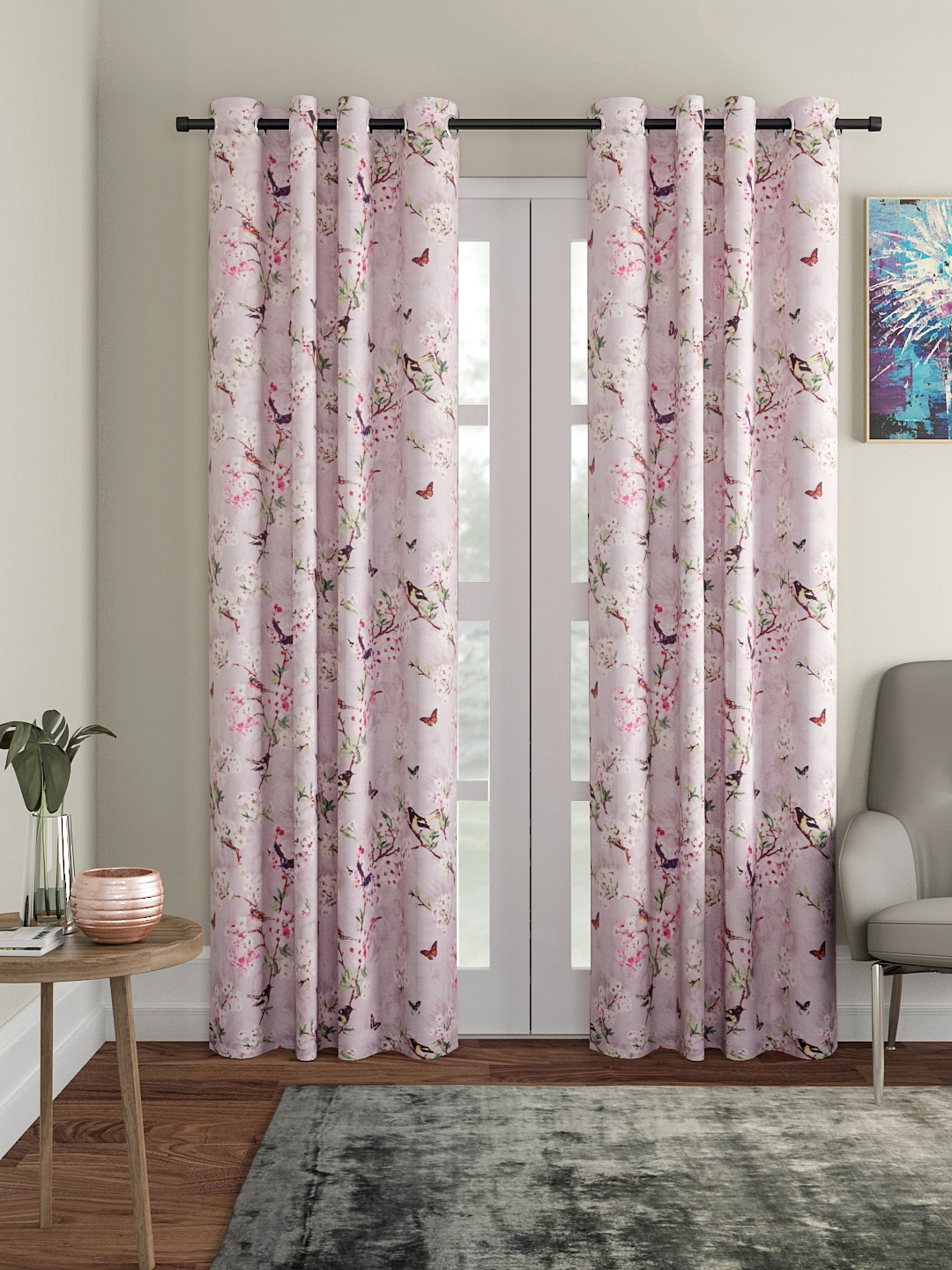 Buy Soumya Grey & Pink Printed Door Curtain - Curtains And Sheers for  Unisex 9953517   Myntra
