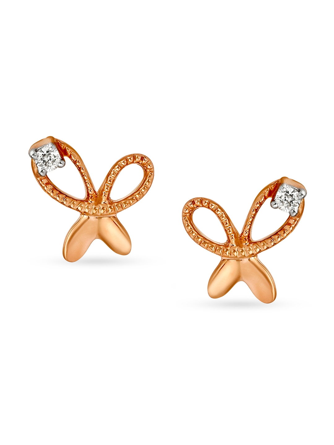 Mia by Tanishq 14KT Rose Gold Diamond Stud Earrings