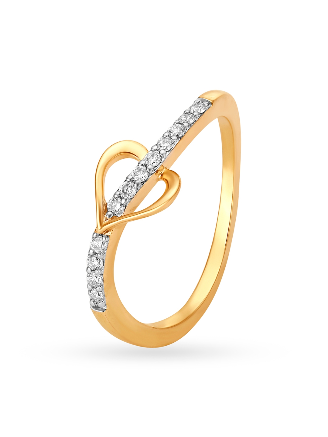 Mia by Tanishq 14KT Yellow Gold Diamond Finger Ring