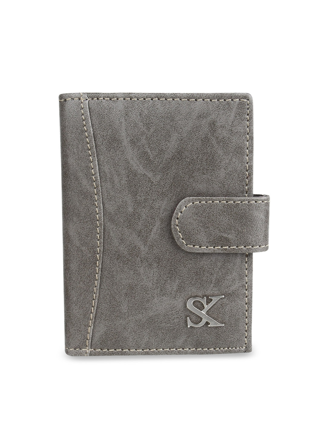 STYLER KING Men Grey Leather Card Holder