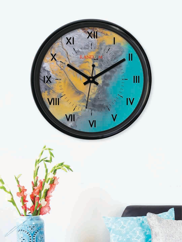 RANDOM Sea Green   Yellow Round Printed Analogue Wall Clock  30 cm x 30 cm