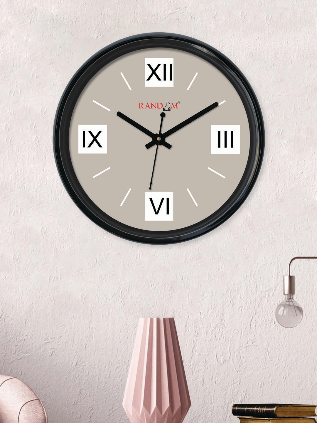 RANDOM Taupe Round Solid Analogue Wall Clock  30 cm x 30 cm