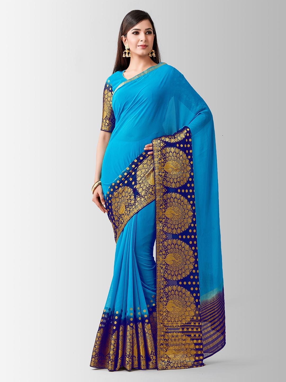 MIMOSA Blue   Gold Toned Poly Chiffon Woven Design Kanjeevaram Saree