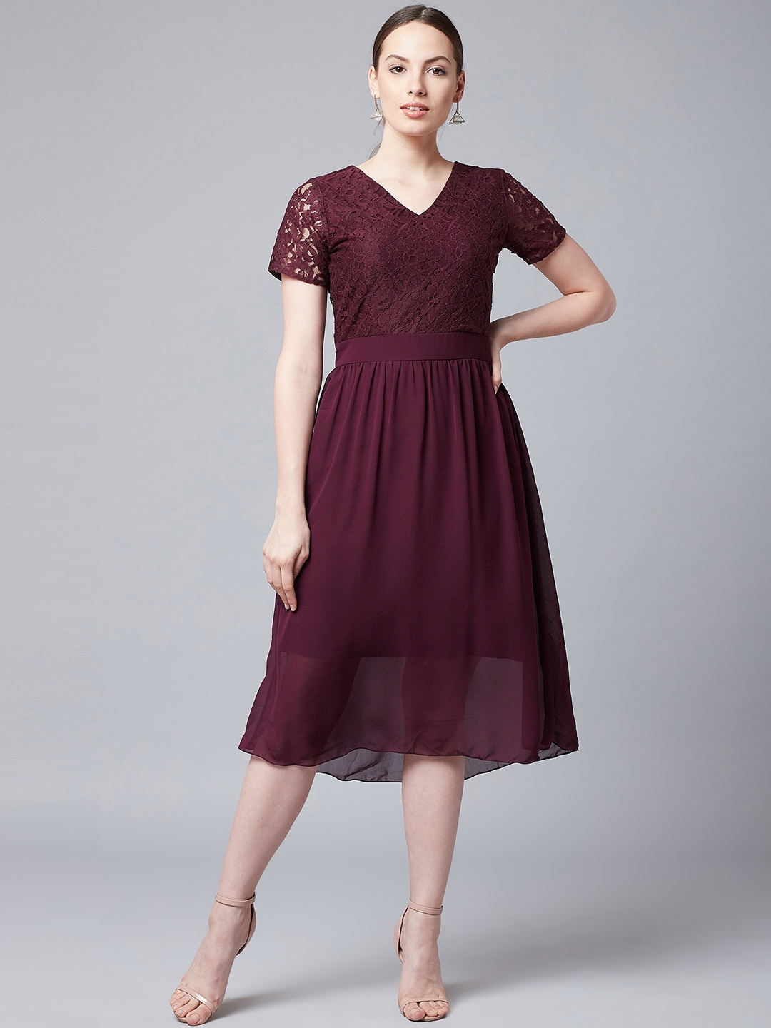Athena Women Burgundy Fit and Flare Dress