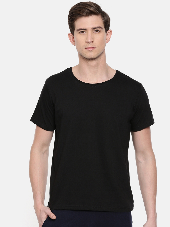 SayItLoud Men Black Solid Round Neck T shirt