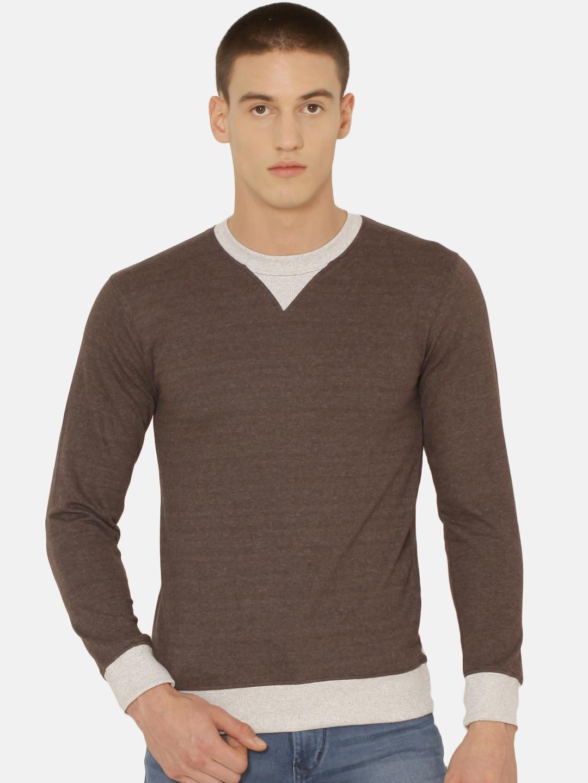 ARISE Men Brown   Beige Solid Sweatshirt