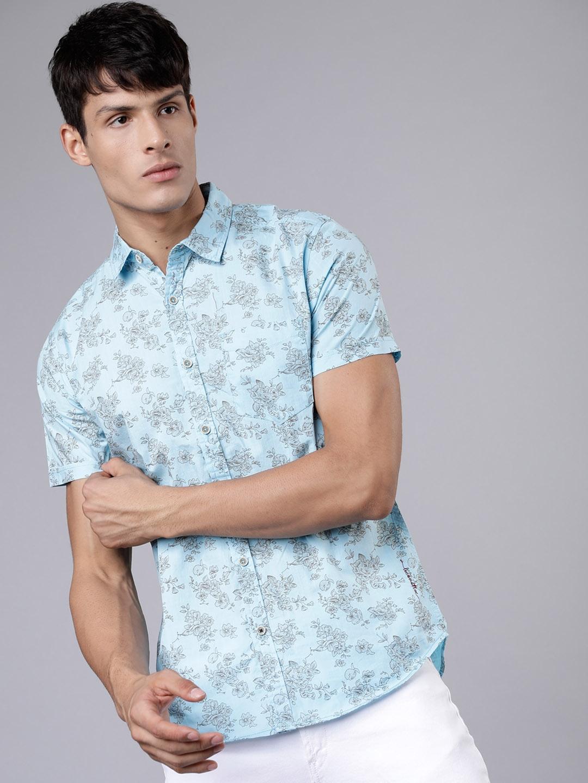 LOCOMOTIVE Men Blue   Grey Slim Fit Printed Casual Shirt