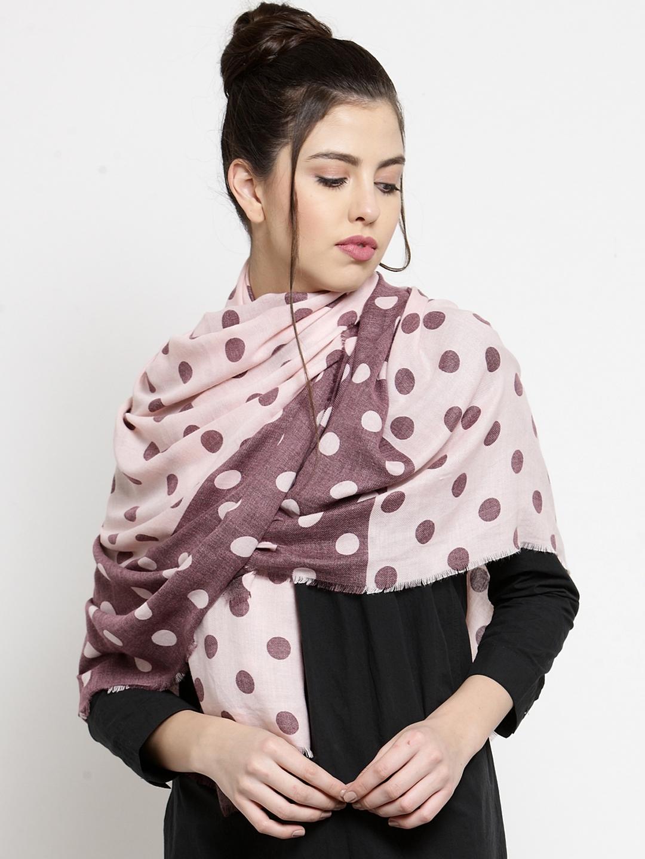 J Style Women Beige   Brown Polka Dot Print Stole