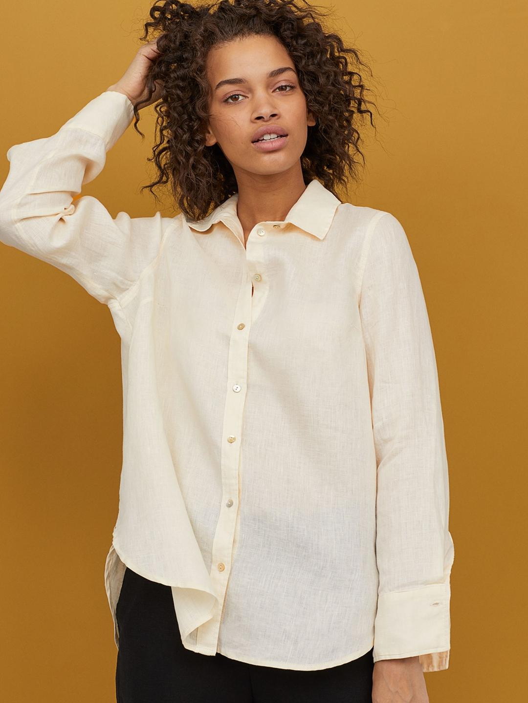 H M White White Solid Linen Shirt