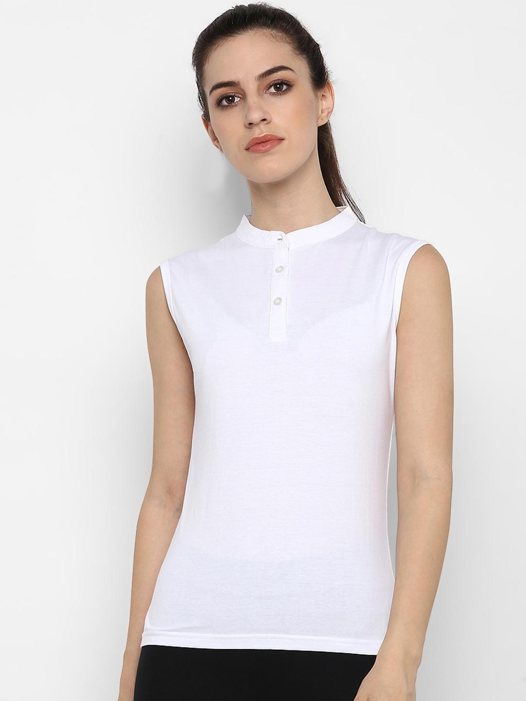 appulse Women White Solid Slim Fit Mandarin Collar T shirt