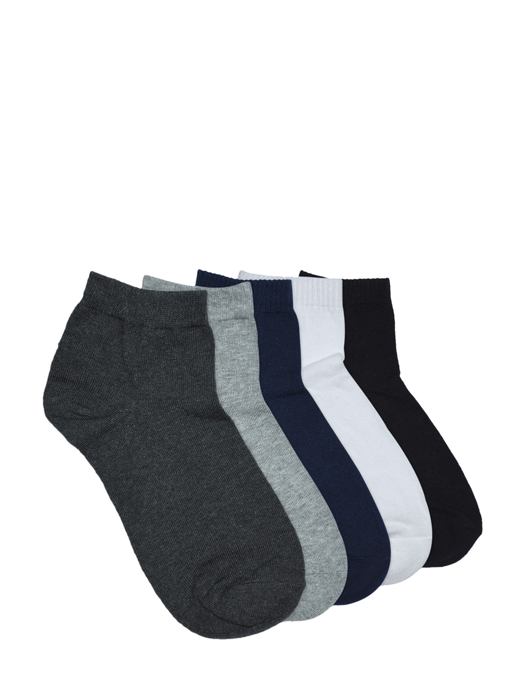 Balenzia Men Pack of 5 Assorted Solid Ankle Length Socks