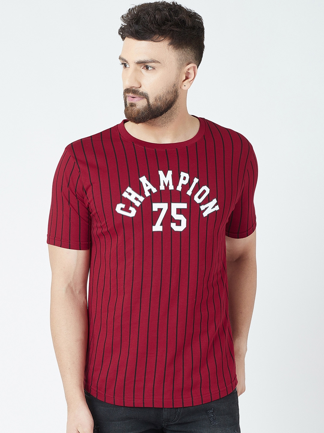 The Dry State Men   Black Maroon Striped Round Neck T shirt