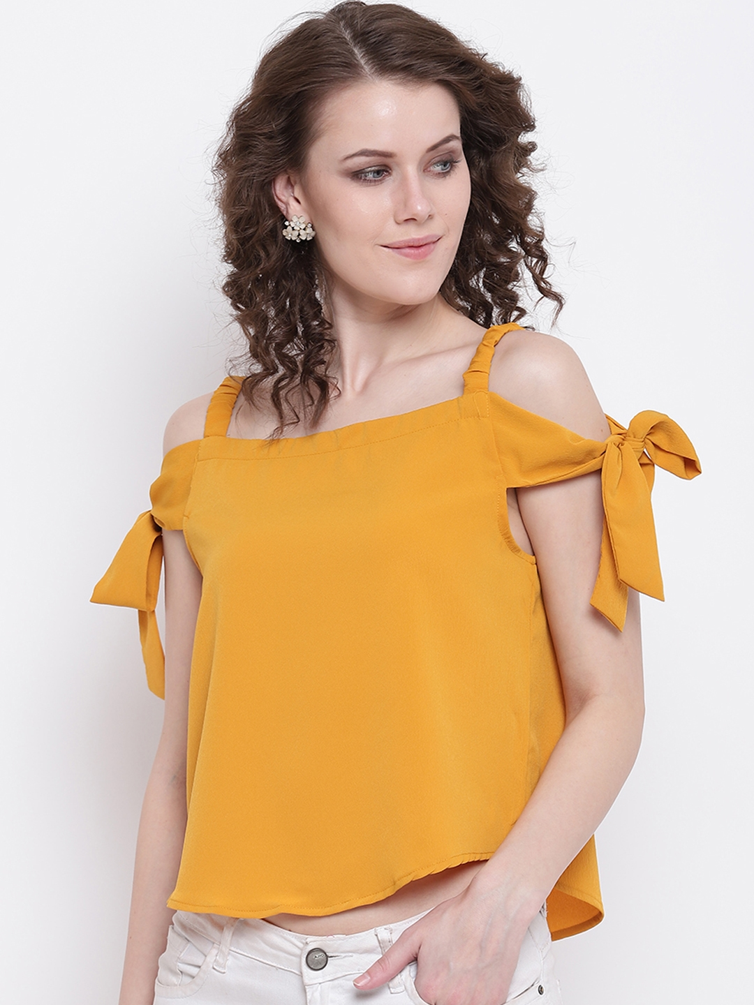 Mayra Women Yellow Solid A Line Top