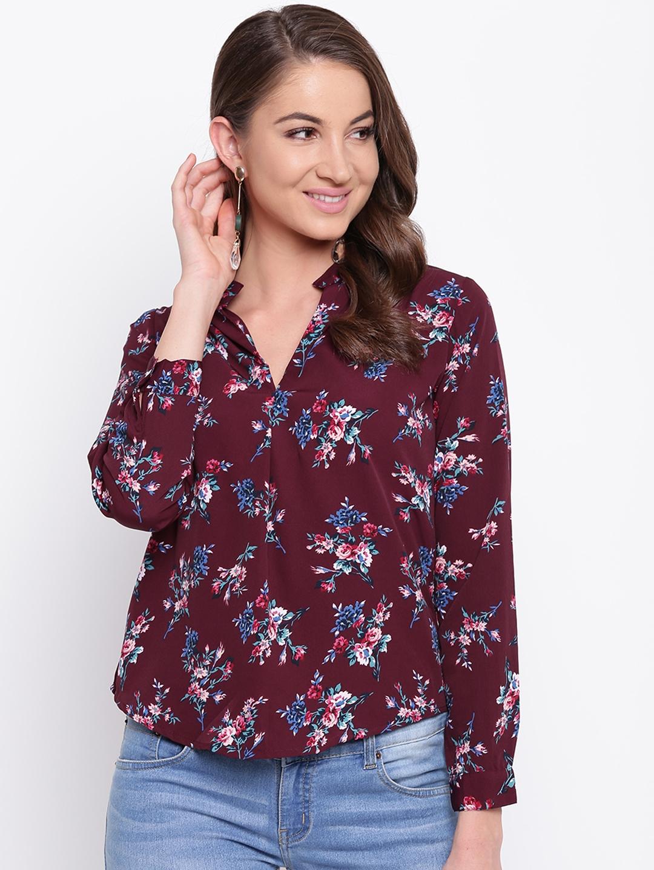 Mayra Women Maroon Floral Print Shirt Style Top