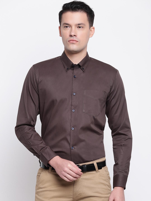 Hancock Men Brown Slim Fit Solid Formal Shirt