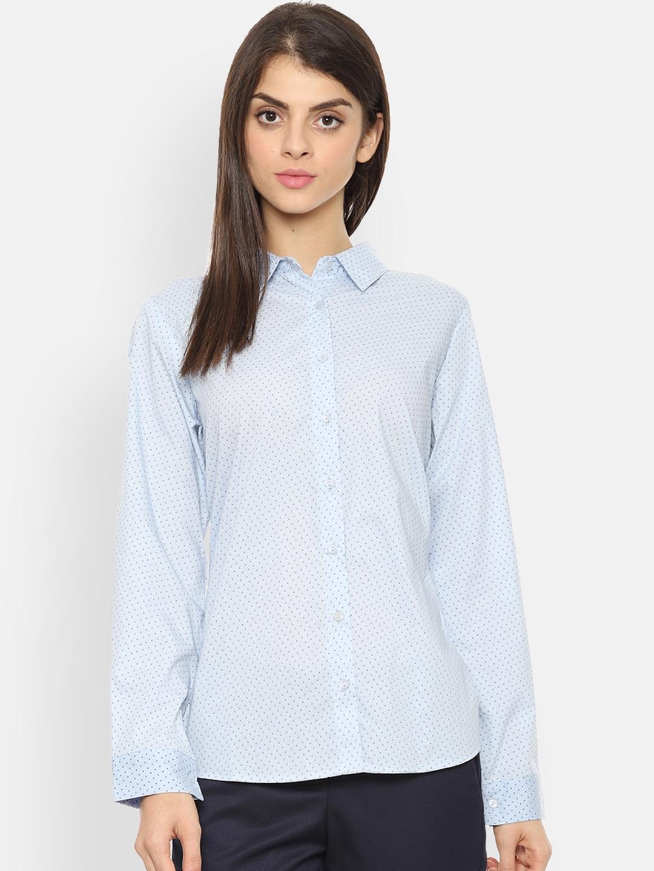 Van Heusen Woman Blue Regular Fit Printed Casual Shirt
