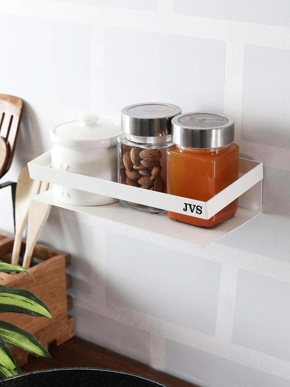JVS Set of 2 White Solid Metal Kitchen Shelf