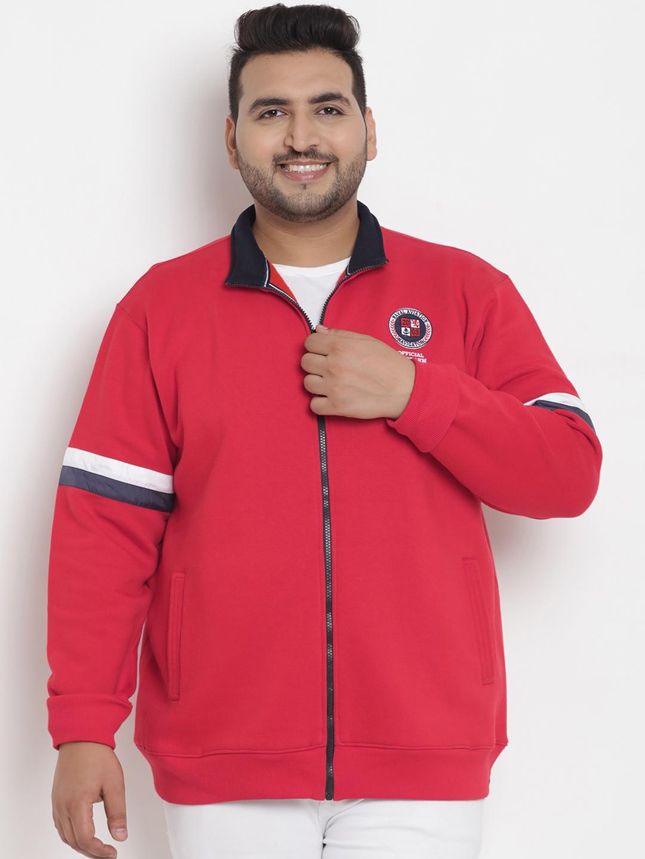 John Pride Plus Size Men Red Solid Sweatshirt