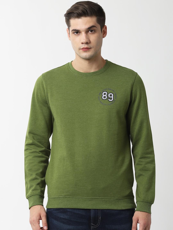 Peter England Casuals Men Green Solid Sweatshirt