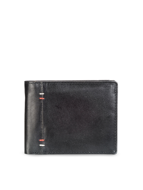 Teakwood Leathers Men Black Solid Leather Two Fold Wallet