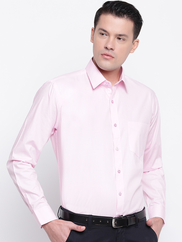 Hancock Men Pink Regular Fit Solid Formal Shirt