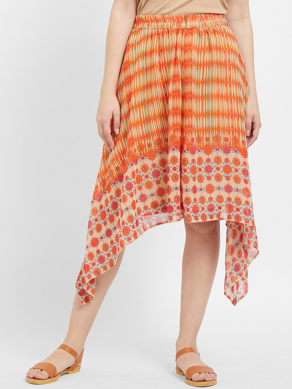 109F Women Orange Printed High Low Skirt