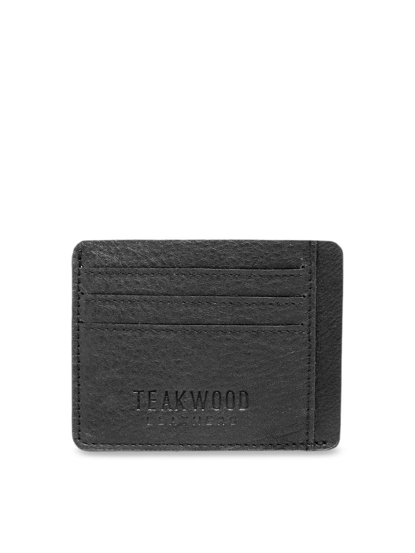 Teakwood Leathers Men Black Solid Card Holder