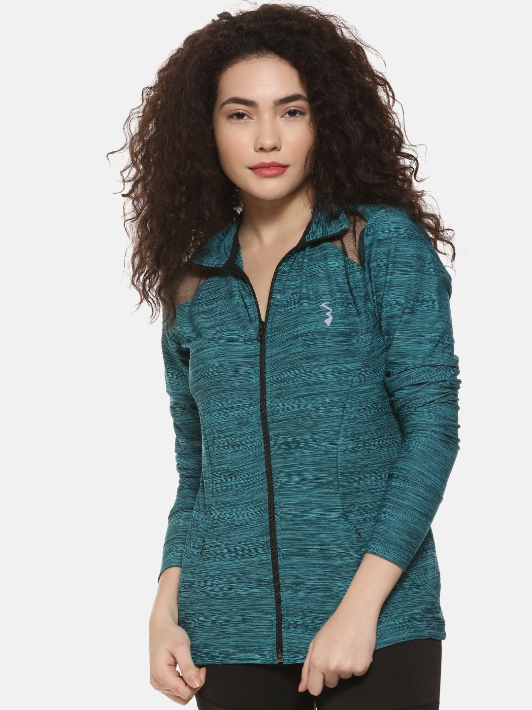 Campus Sutra Women Green Solid Sporty Jacket