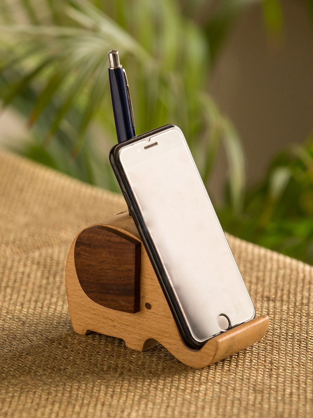 ExclusiveLane Brown Elephant Shaped Wood Handcrafted Mobile Stand with Pen Holders