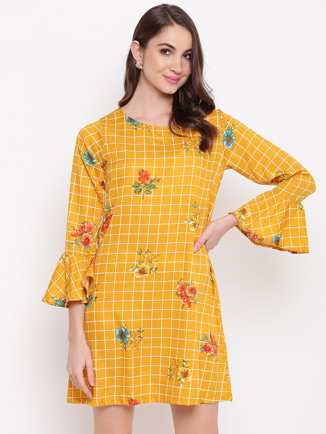 Mayra Women Yellow Checked A Line Dress