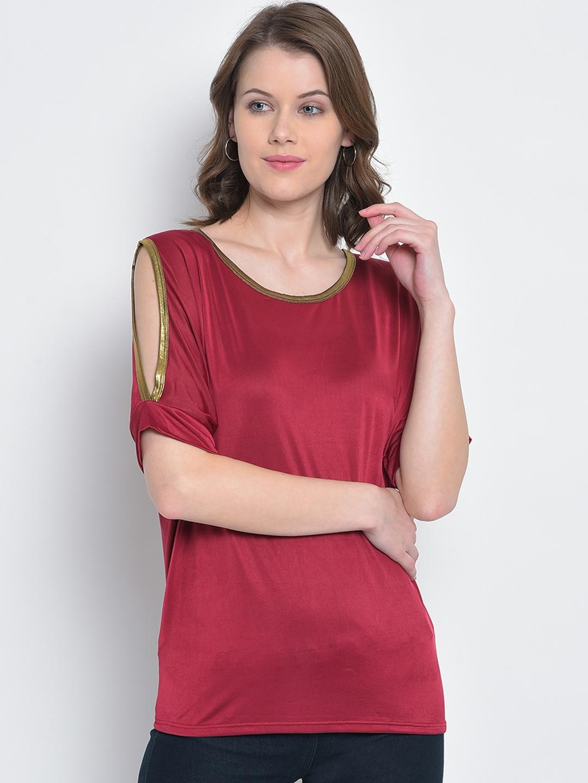 Mayra Women Maroon Solid Top