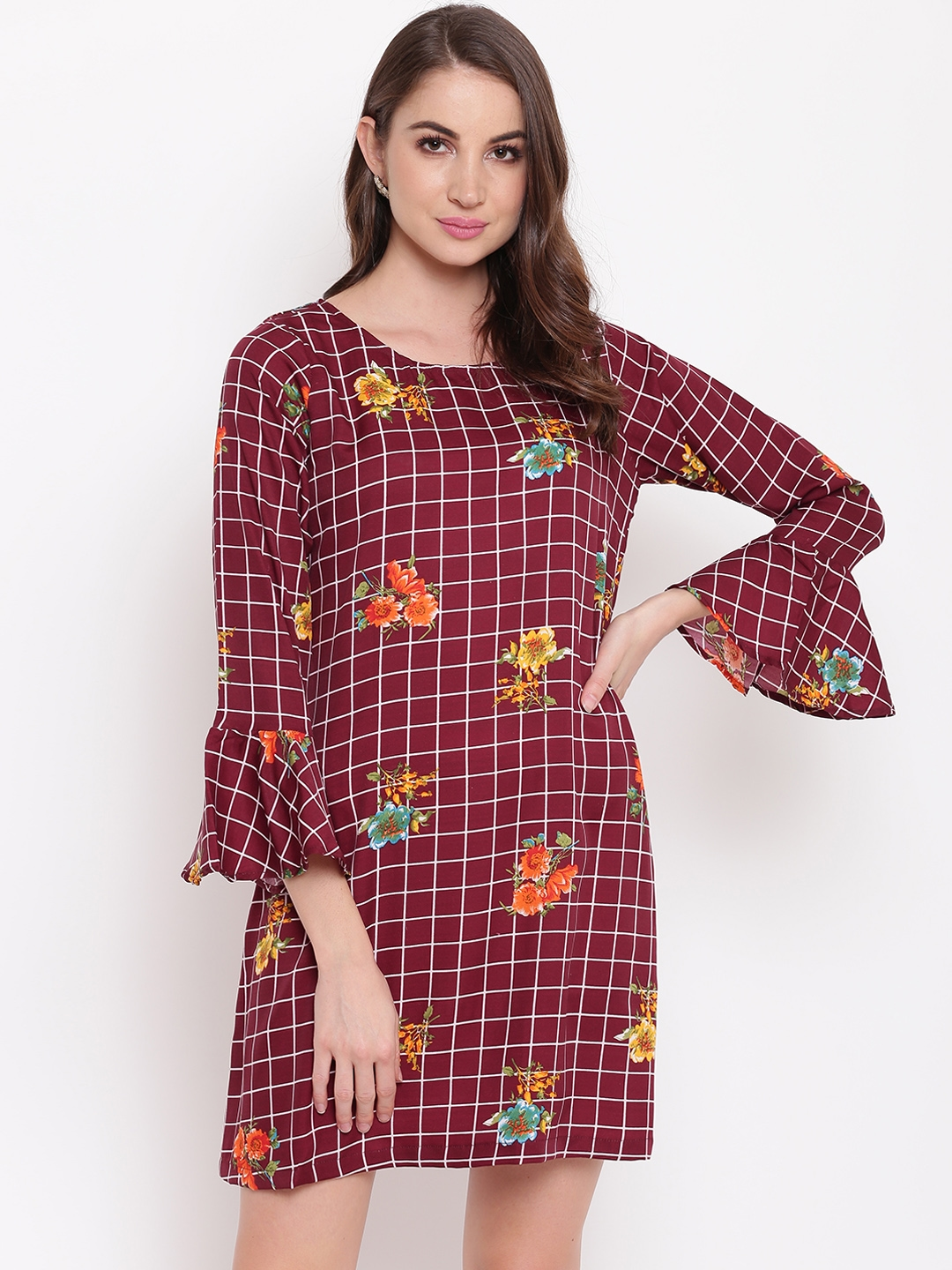 Mayra Women Maroon Checked A Line Dress