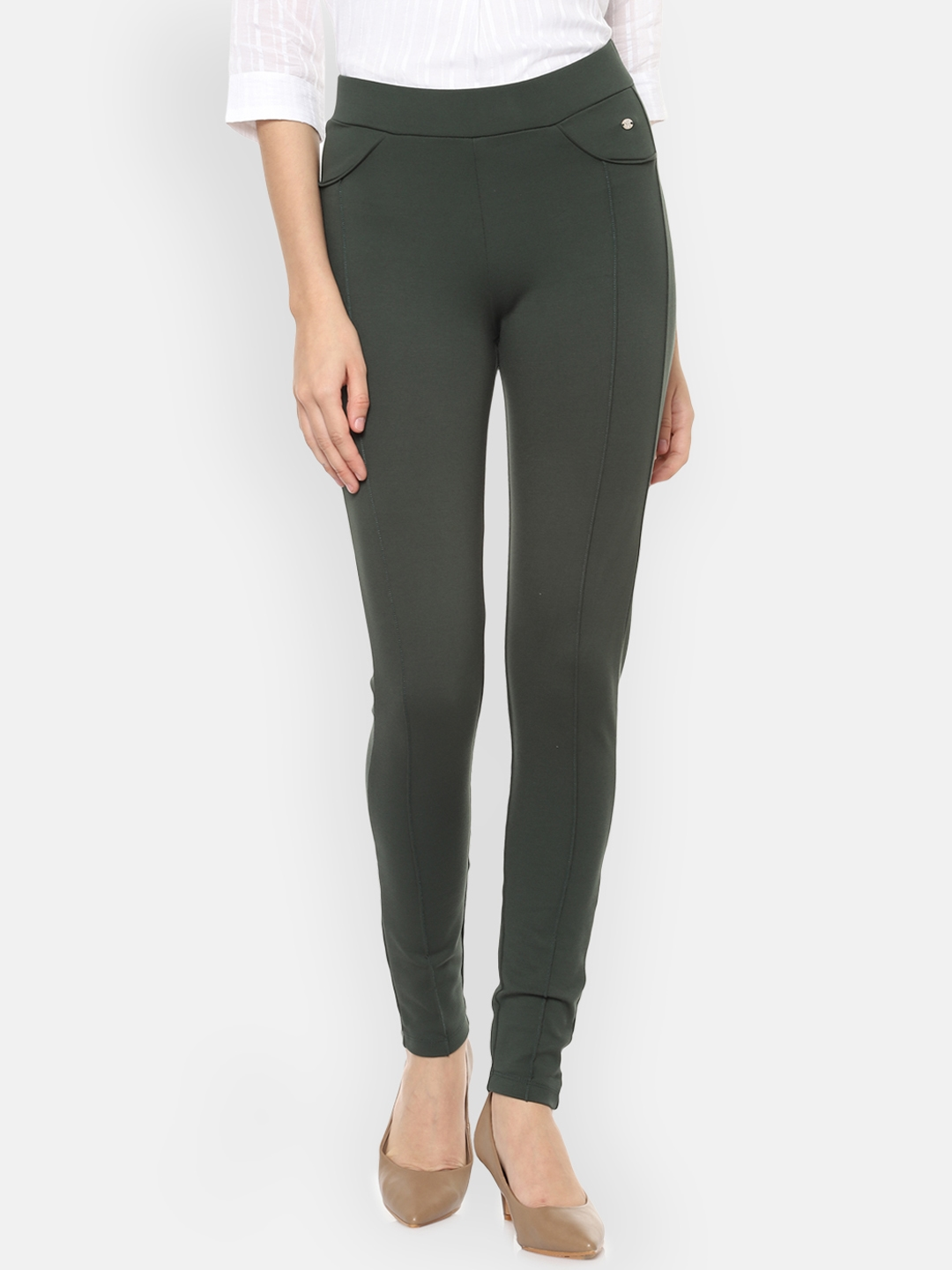 Allen Solly Woman Olive Green Regular Fit Solid Regular Trousers