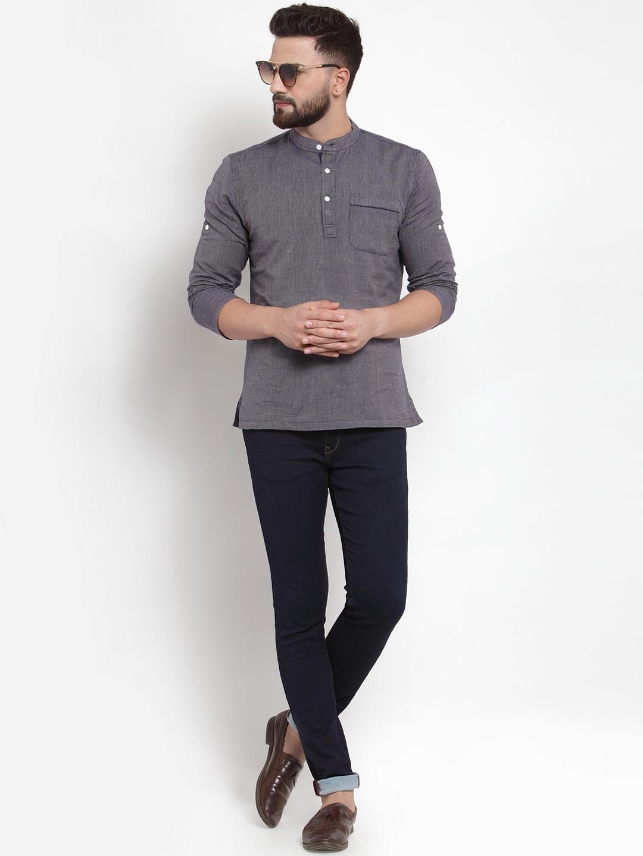 Men-039-s-Short-Kurta-Cotton-Shirt-Indian-Wear-Short-Round-Neck-Tunic-Kurta-XS-5XL thumbnail 12