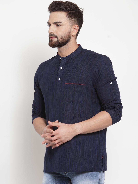 Men-039-s-Short-Kurta-Cotton-Shirt-Indian-Wear-Short-Round-Neck-Tunic-Kurta-XS-5XL thumbnail 5