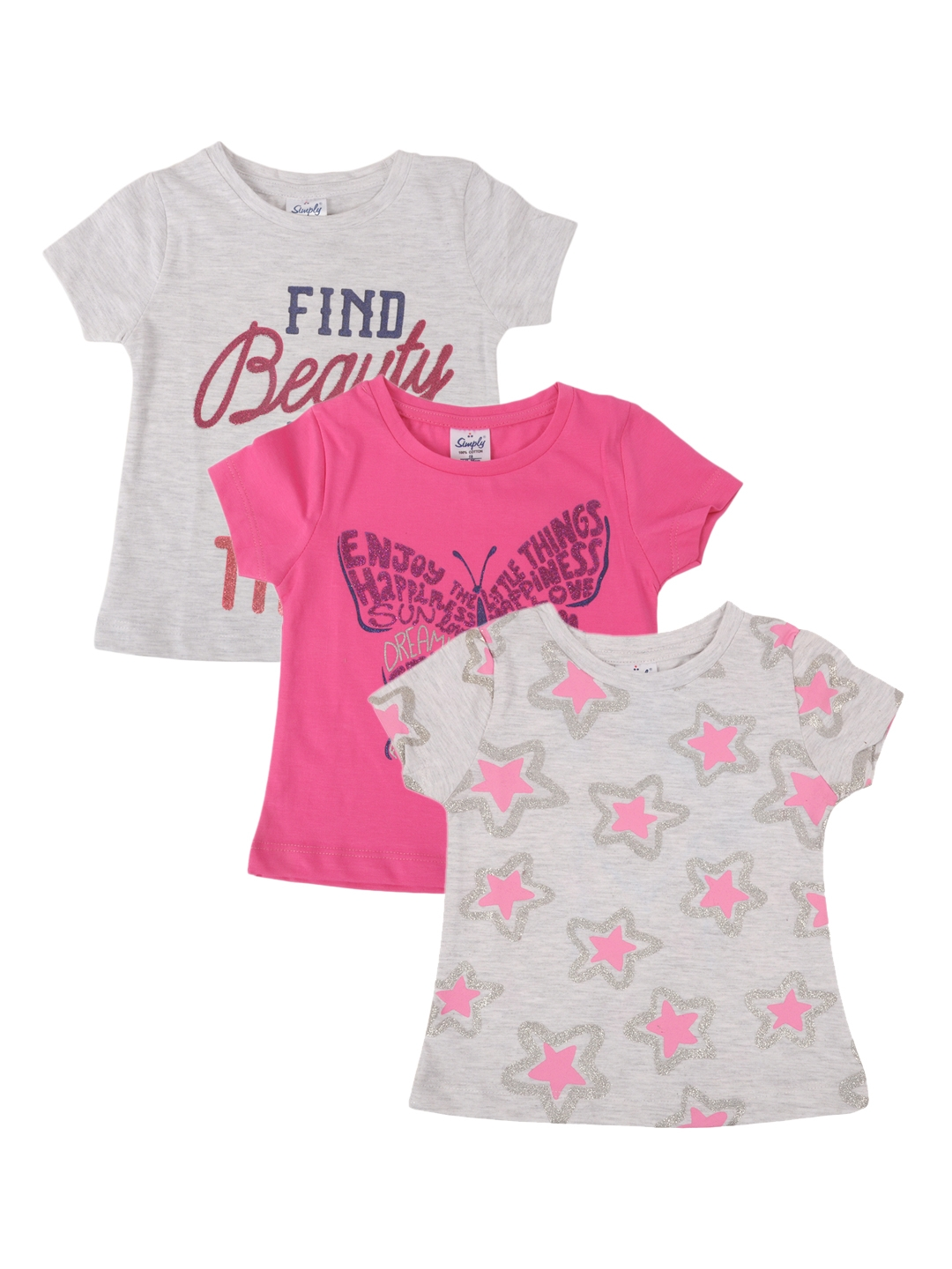 Simply Girls Pack of 3 Printed Round Neck T shirts