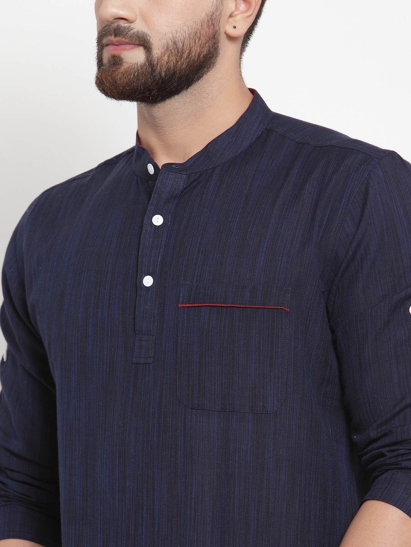 Men-039-s-Short-Kurta-Cotton-Shirt-Indian-Wear-Short-Round-Neck-Tunic-Kurta-XS-5XL thumbnail 4