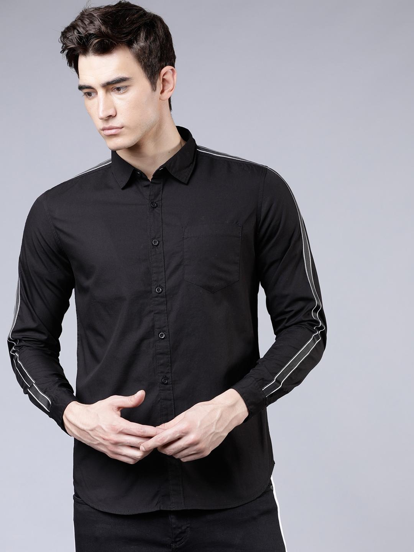 HIGHLANDER Men Black Slim Fit Solid Casual Shirt