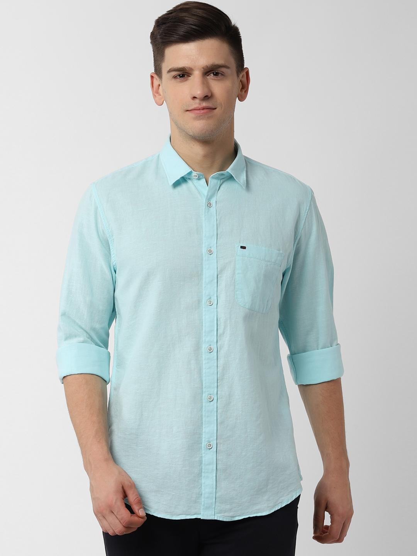 Peter England Casuals Men Blue Slim Fit Solid Cotton Linen Casual Shirt