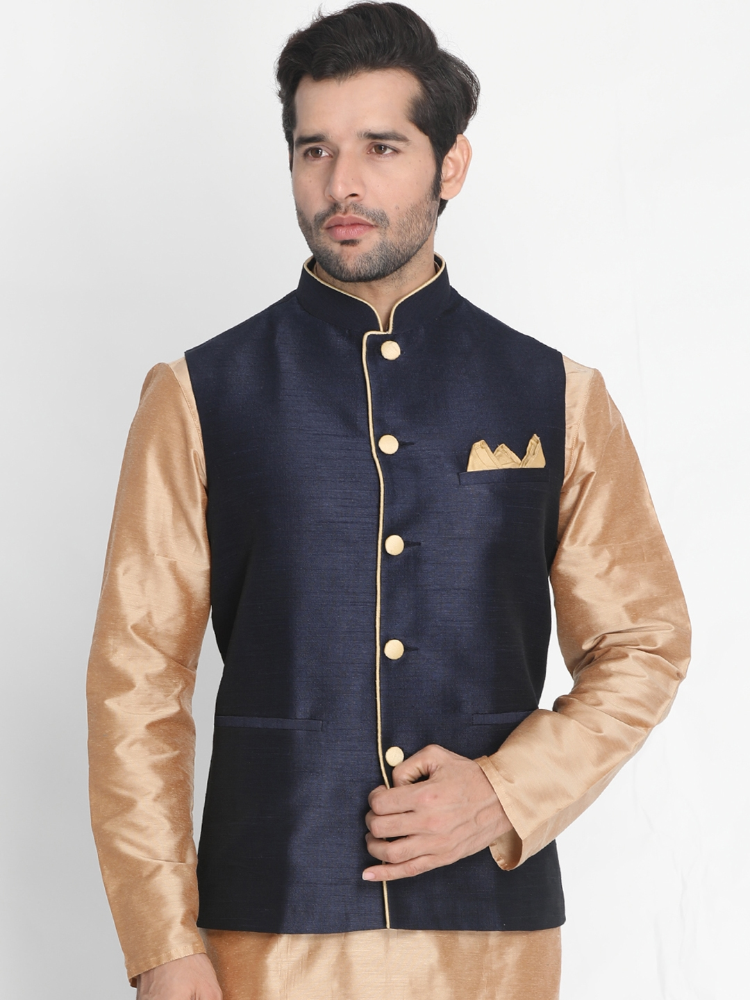 VASTRAMAY Men Navy Blue Solid Nehru Jackets