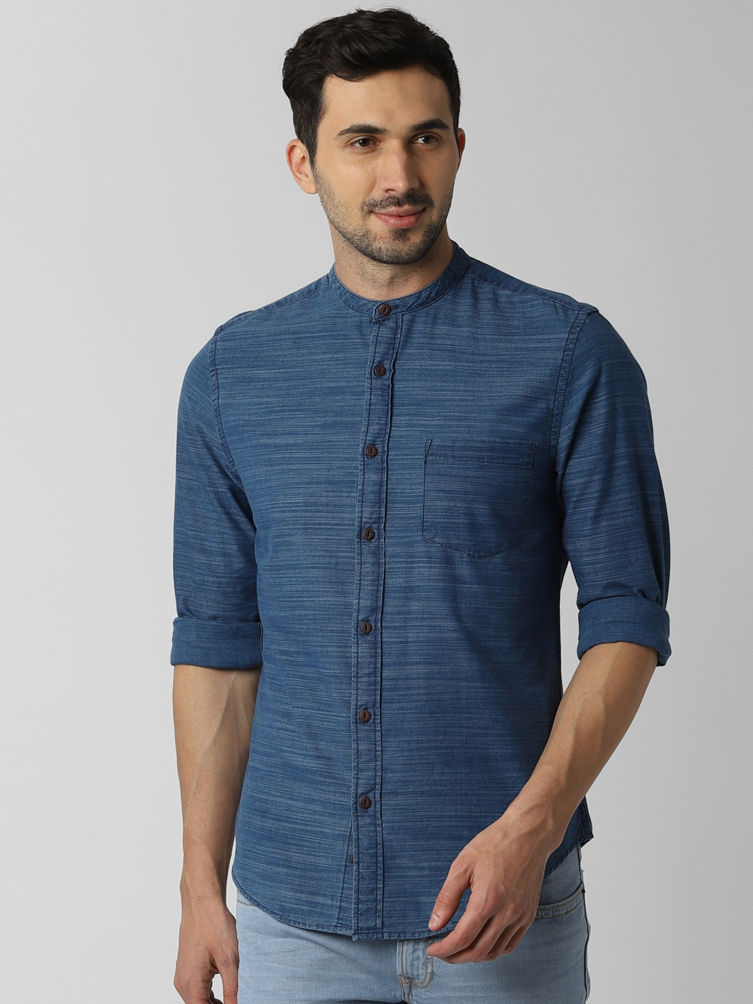 Peter England Casuals Men Blue Slim Fit Solid Casual Shirt