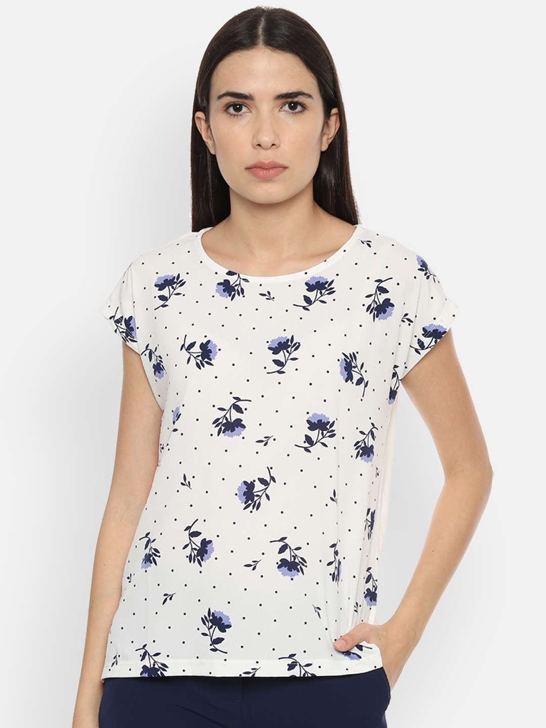 Allen Solly Woman White   Blue Printed Top