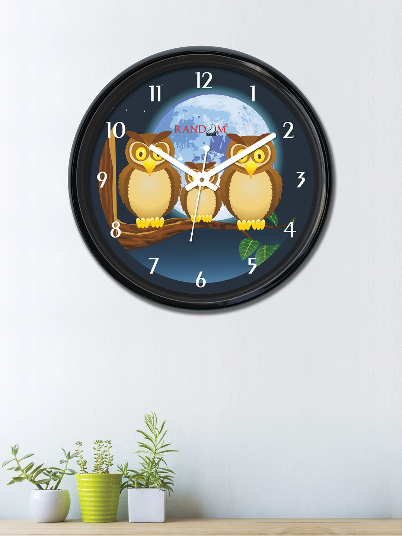 RANDOM Navy Blue   Brown Dial 30 cm x 30 cm Round Printed Analogue Wall Clock