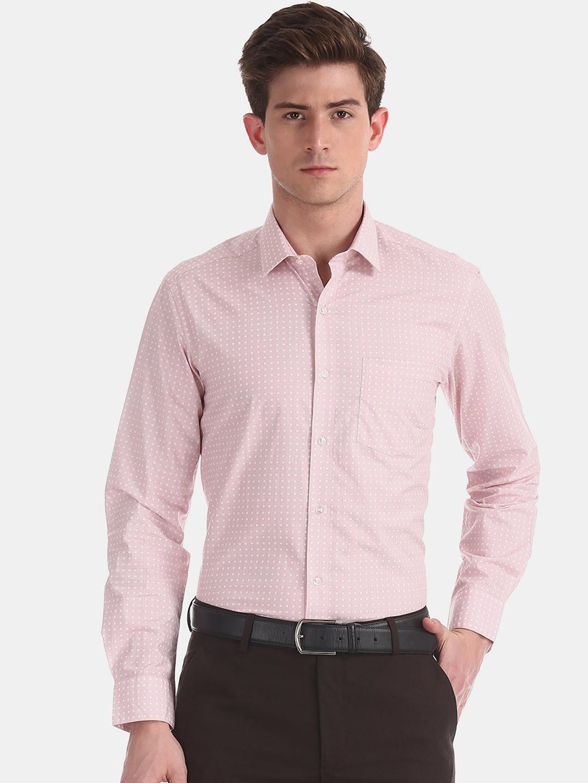 Arrow Men Pink Slim Fit Printed Formal Shirt