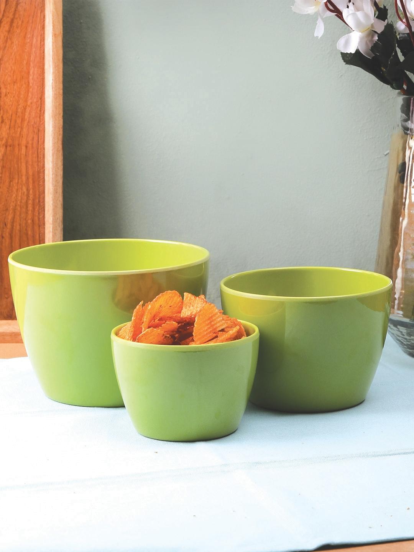 Servewell Green 3 Pieces Solid Melamine Bowls Set